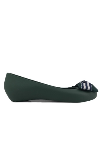 Halo green Bow Waterproof Jelly Flats Shoes CC6C6SH2479754GS_1