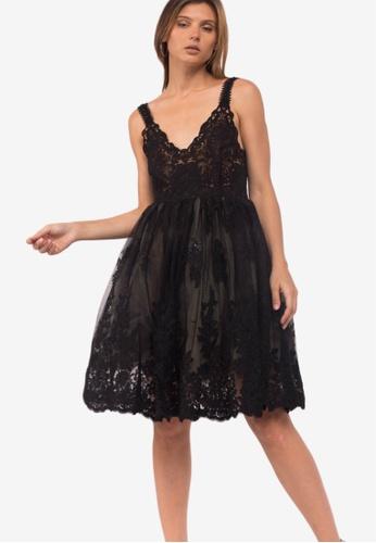 Caoros black Sheer Lace Dress 55982AA4CD3AF7GS_1