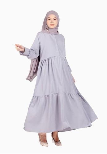 Beautika Fashion grey Maya Grey Muslimah Long Dress Maxi Jubah Casual Basic Simple Plain 2DB1DAAF683598GS_1