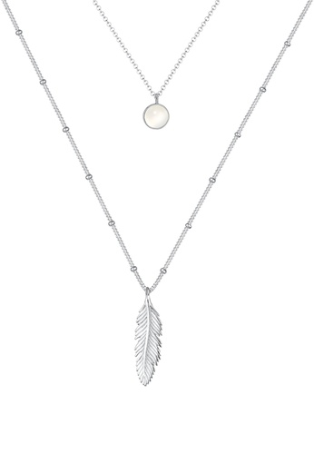 ELLI GERMANY silver Elli Germany Necklace Ball Chain Feather Moonstone Layer Look 925 Silver 41D5FAC79BF432GS_1