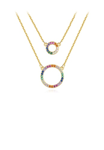 Glamorousky silver 925 Sterling Silver Plated Gold Simple and Fashionable Hollow Geometric Circle Pendant with Cubic Zirconia and Double Necklace C5CEBACAD0205AGS_1
