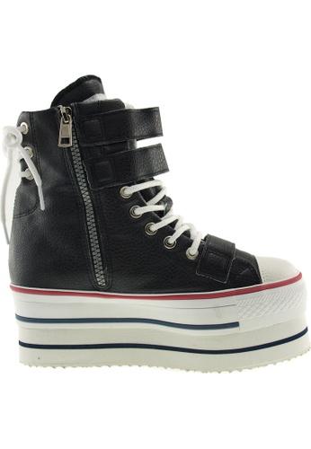 Maxstar black Maxstar Women's CN9 3 Belts Hidden Heel Double Platform PU Sneakers US Women SizeBoots US Women Size MA164SH58POFSG_1