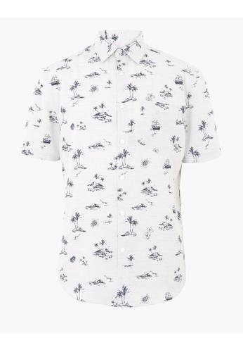 MARKS & SPENCER white M&S Easy Iron Hawaiian Shirt D1554AA814C284GS_1