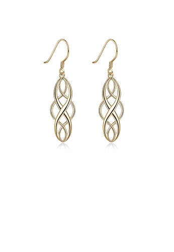 Glamorousky silver 925 Sterling Silver Plated Champagne Gold Geometric Earrings 5B3E2AC18360E3GS_1