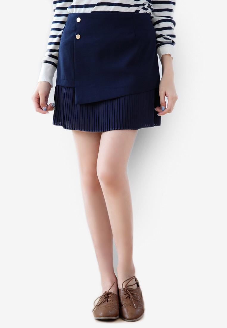 Asymmetric Pleated Hem Mini Skirt