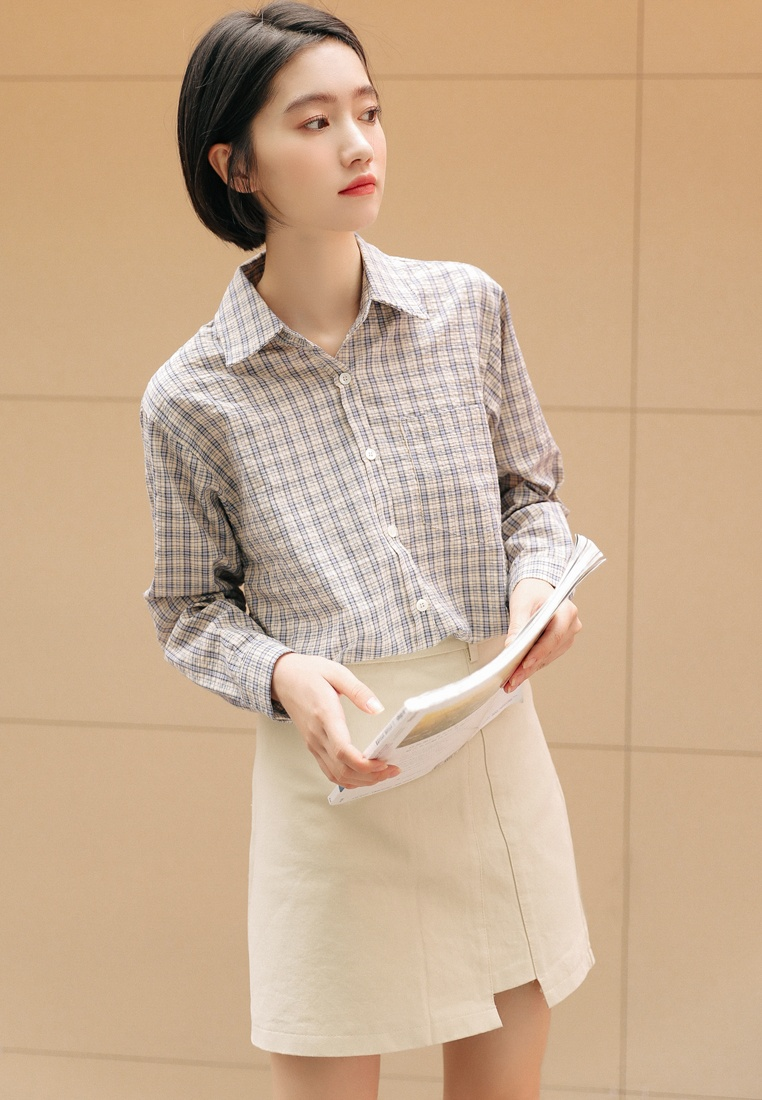 Beige Blue Shopsfashion Shopsfashion Checked Shirt Checked vIwz1qY