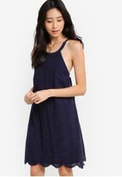 ZALORA navy Love Halter Neck Swing Dress 89083AAAE16421GS_1