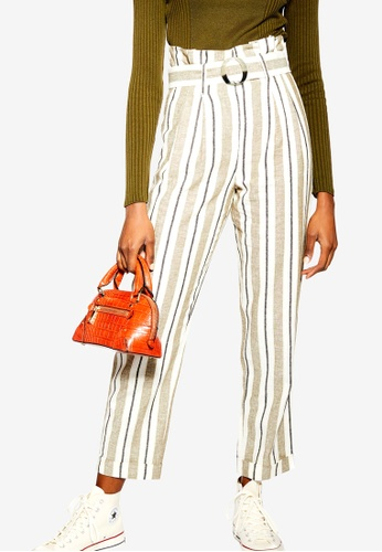 8da47c3e951 Buy TOPSHOP Stripe Belted Peg Trousers Online on ZALORA Singapore