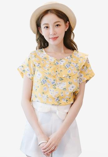 Eyescream yellow Floral Peter Pan Collar Top 8DCFFAAFA11788GS_1