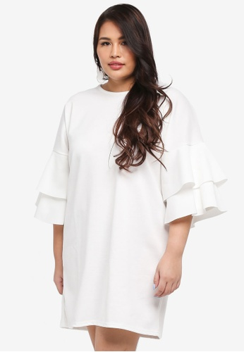 MISSGUIDED white Plus Size Frill Sleeve Shift Dress 9AB6EAA4DB2236GS_1