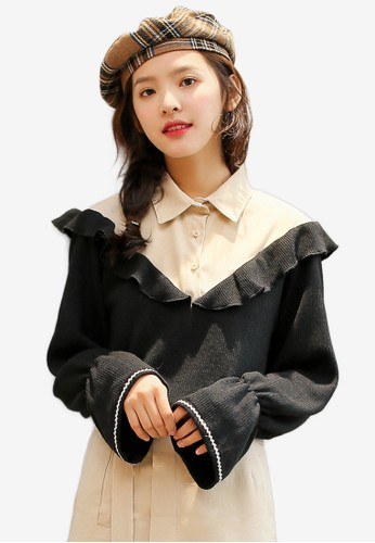 Shopsfashion black and beige Ruffles Blouse 03A58AA5A94E1CGS_1