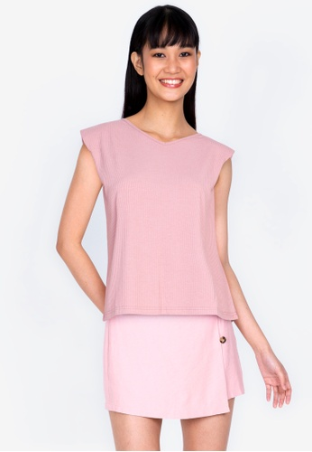 ZALORA BASICS pink Rib V Neck Shoulder Pad T-shirt 303C3AA190A162GS_1