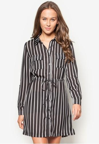 腰帶條紋襯衫洋裝,esprit hk分店 服飾, 洋裝