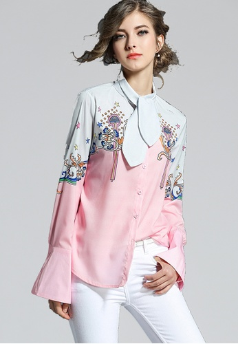 NBRAND pink Bandage Collar Long Sleeve Printed Shirt NB356AA0GQMQSG_1