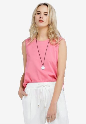 Hopeshow pink Sleeveless Round Neck Blouse EB339AAF893C39GS_1