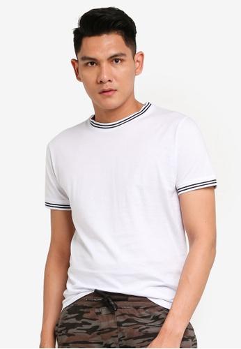 Brave Soul white Crew Neck Rib T-Shirt 487A3AA88B697EGS_1