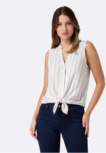 Forever New white Annie Tie Front Sleeveless Shirt 2F07BAA2327363GS_1