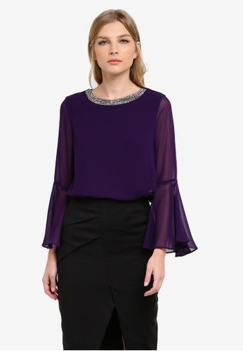 Wallis purple Purple Embellished Neck Top WA800AA0S6TFMY_1