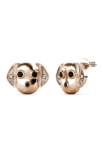 Her Jewellery gold Beagle Earrings (Rose Gold) -  Embellished with Crystals from Swarovski® 1622FAC3CBD431GS_1