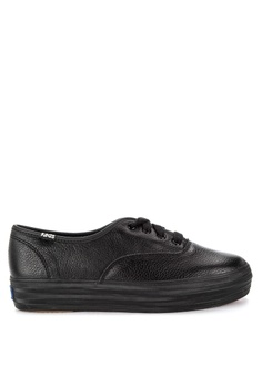 18ffa17b7790a Keds black Triple Leather Sneakers 6EF58SHD96EA25GS 1