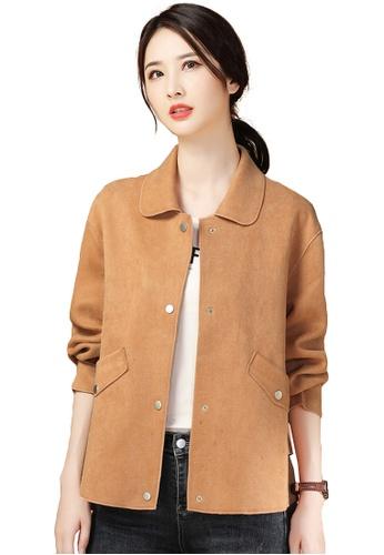 A-IN GIRLS beige Simple Faux Deerskin Velvet Lapel Coat D3944AA2B986C5GS_1