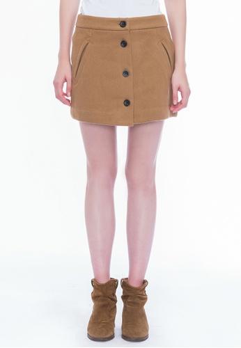 AlphaStyle beige Dalia Wool Mini A-line Skirt 7EDB1AA715383AGS_1