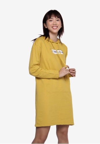 Applemints yellow Basic Hooded Dress - MUSTARD CDBC3AAECA86D8GS_1