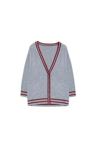 KLAPS grey Cashmere-blend Cardigan 25D8EAA7AE6CC4GS_1