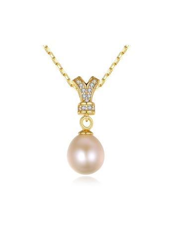 SUNRAIS gold Premium Color Stone Golden Crown Necklace 84724AC51C267FGS_1