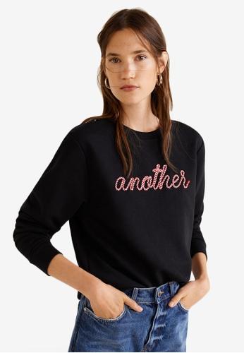 Mango black Embossed Message Sweatshirt B16F2AAC1BDF14GS_1