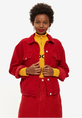TOPSHOP 紅色 Petite Red Corduroy Boxy Jacket C1012AA00CD042GS_1