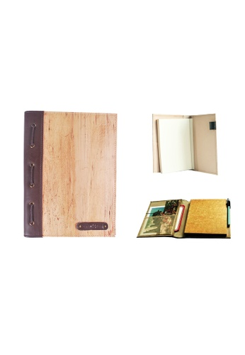 Jacinto and Lirio brown and beige Spes Medium Blank Refillable Vegan Leather Journal 4B662HLDF10049GS_1