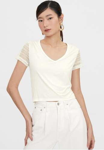 Pomelo white Lace Short Sleeves Tees - White 5D4D5AA5027227GS_1