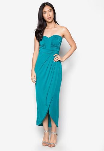 月光小樂曲抓褶露zalora 包包評價肩長洋裝, 服飾, 洋裝