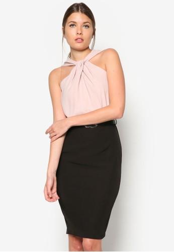 扭結繞脖zalora時尚購物網評價假兩件連身裙, 服飾, 洋裝