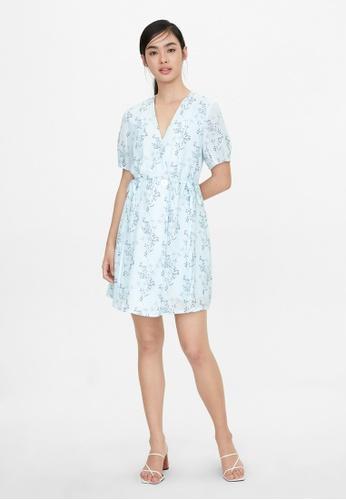 Pomelo blue Double Button Wrap Floral Dress - Blue 46561AA4309E98GS_1