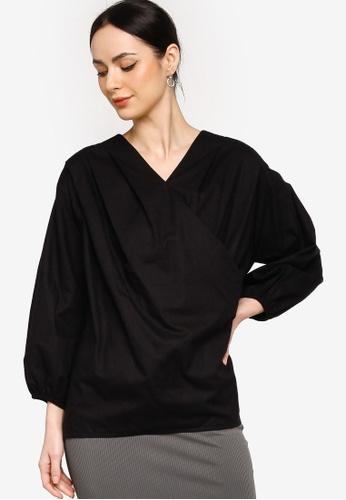 ZALIA BASICS black Puff Sleeves Pleated Wrap Blouse E8CD9AA919C7A9GS_1