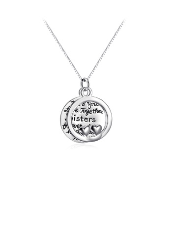 Glamorousky silver 925 Sterling Silver Simple Fashion Double Heart Lettering Geometric Round Pendant with Necklace E6BB2AC008DBAFGS_1