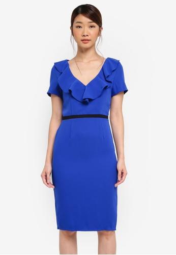 Paper Dolls blue Ruffle Front Contrast Wasit Trim Dress 72B94AA9660652GS_1