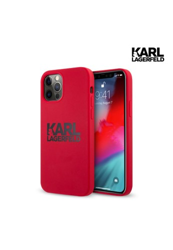 """KARL LAGERFELD red Case iPhone 12 Pro Max 6.7"""" Karl Silicone Stack Logo - Red F3BC9ES8884220GS_1"""