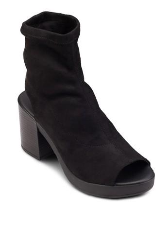 esprit 京站鏤空高筒布料粗跟踝靴, 女鞋, 鞋