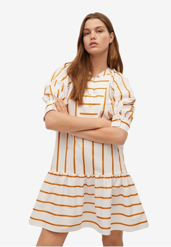Mango white and red Puffed Sleeves Striped Dress 5C6ABAAC858D3FGS_1