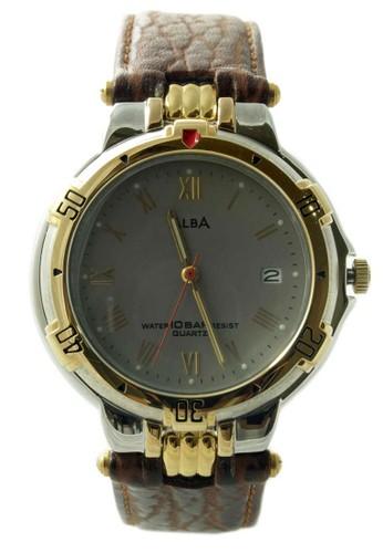 ALBA Jam Tangan Pria - Brown Silver Rosegold - Leather Strap - ATX72A