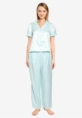 Vero Moda green and blue Nina Nightwear Set 591BFAA1F3B64FGS_1