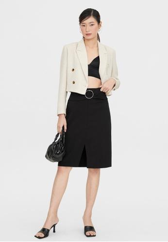 Pomelo black Belted Center Slit Skirt - Black AF031AA53C5F21GS_1