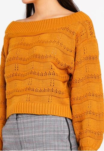 168e97ab26e3 Buy Miss Selfridge Ochre Pointelle Stitch Bardot Knitted Jumper ...