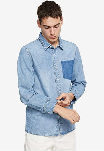 URBAN REVIVO blue Casual Denim Shirt 222D7AA53DDB13GS_1