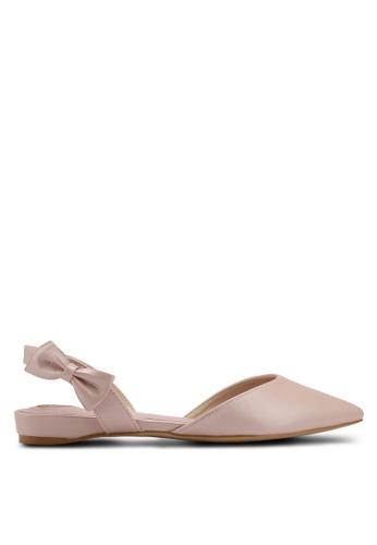 Velvet pink Bow Detail Ballerina 82A8DSH60FECC1GS_1