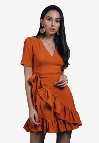 Caoros orange Ruffled Mini Dress 31937AAAB160C5GS_1