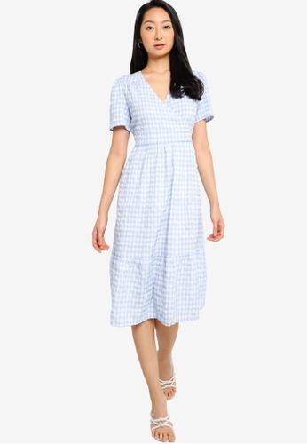 ZALORA BASICS blue Wrap Tiered Dress C5CF4AACF5B2D7GS_1